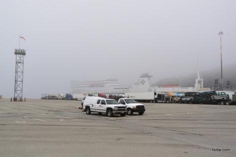 Ferry behind the fog