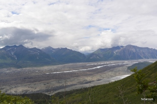 Glacier covered in rocks released when melting